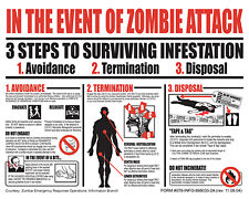 Zombies Survival In the Event of Zombie Attack Zombie Apocolypse Sticker 5x7in