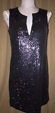Tory Burch HOLIDAY Midnight Blue 100% SILK sequin tunic dress 6 WORN ONCE $525