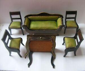 Walterhausen Biedermeir Parlor Set Soffa Chairs Sewing Table,Boule Gold Transfer