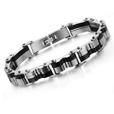 Men's Unisex Stainless Steel Black Rubber Bracelet G33