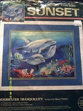 """Sunset """"Underwater Tranquility"""" Gallery No Count Cross Stitch Kit Size 16"""" x 12"""""""