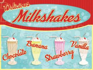 30x40cm Milkshakes Rustic Tin Sign or Decal, Vintage, Retro, Diner