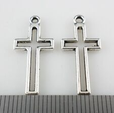 40pcs Tibetan Silver Hollow Cross Charms Crafts Pendants Jewelry 11x23mm