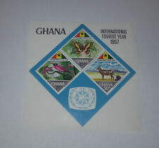 GHANA INTERNATIONAL TOURIST YEAR 1967 MINISHEET OF 3 STAMPS IMPERFORATED