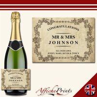 L138 Personalised Vintage Style Wedding Engagement Custom Prosecco Bottle Label