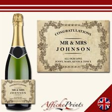 Personalised Prosecco Label Vintage Style Wedding Engagement Custom Sticker Gift