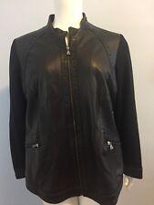Marina Sport Women's Black Studded Leather Fabric Blazer Jacket Size 27 18