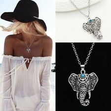 Bohemian Ethnic Tibetan Silver Elephant Good Fortune Charm Necklace