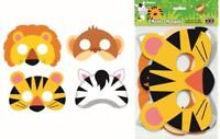 ANIMAL JUNGLE FACE MASKS ASSORTED DESIGN PACK OF 8 BIRTHDAY PARTY MASKS