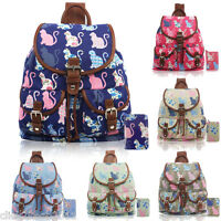 Ladies Girl Kitty Cat Canvas Backpack Rucksack School College Shoulder Bag Purse