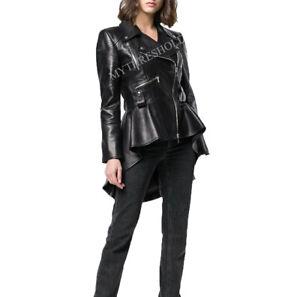 Women's Genuine Lambskin Peplum Waist Designer Biker Leather Jacket
