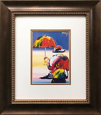 "Peter Max ""Umbrella Man at Sunset"" CUSTOM FRAMED Print Art POP psychedelic"