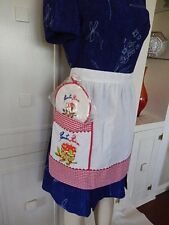 NWNT Womens Aprons Costa Rica Emboidery WHITE & GINGHAM HALF APRON W/Potholder