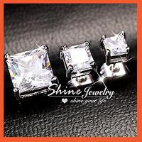 STERLING SILVER LAB CT DIAMOND MENS LADIES VALENTINE SQUARE STUD EARRINGS GIFT