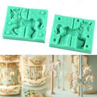 3D Carousel Horse Silicone Fondant Cake Sugarcraft Mold Chocolate Baking Mould