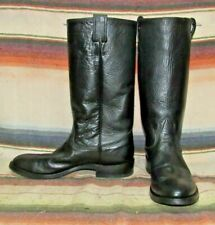 Womens Vintage Nocona Black Leather Stovepipe Cowboy Boots 7 B Exc Used Cond