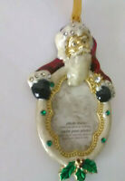Christmas ornament picture frame new w/box rhinestones Santa Claus mistletoe!