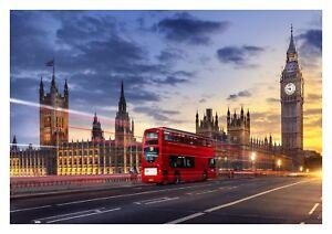 London - Iconic Red Bus Famous Landmark Landscape Large Poster & Canvas Pictures