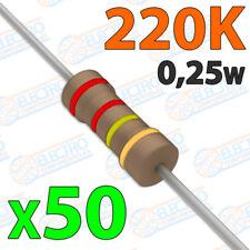 50x Resistencias 220K OHM 5% 1/4w 0,25w carbon film pelicula