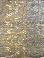 Hand knotted  Modern Sari Silk Oriental Area Rug In Tan Gold Blue Color 8x10