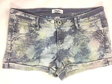 Candie's Womens Jean Denim Shorts 3 Blue Cuffed Acid Wash Low Rise Stretch