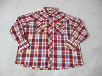 Wrangler Pearl Snap Shirt Adult 2XL XXL Red Plaid Western Outdoors Long Sleeve