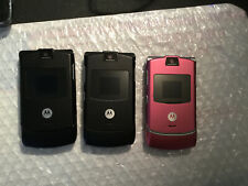 Lot Of 3 Motorola V3 Razr At&t And Cingular Gsm Quadband Flip Phones