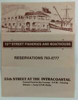 1980's Menu 15th STREET FISHERIES & BOATHOUSE Restaurant Fort Lauderdale Florida