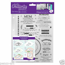 Docrafts Papermania sentiments VERSES A5 rubber stamp set + storage Family Mum
