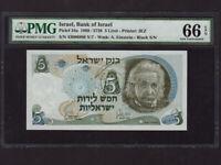 Israel:P-34a,5 Pounds,1968 * Albert Einstein * Black # * PMG Gem UNC 66 EPQ *