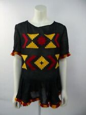 MARCH 11 Black Embroidered Linen Summer Blouse Top Size S