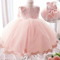Lace Flower Tulle Baby Girl Dress Wedding Easter Infant Bridesmaid Baptism Dress