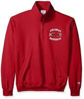 Arkansas Razorbacks~1/4 Zip Fleece Pullover Sweatshirt~RED~Men's Small~NCAA~SEC
