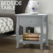 Bedside Table Cabinet Lamp Side Nightstand Unit Storage Shelf Drawer Wooden Grey
