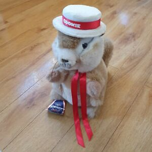 Merrythought Cookie Chipmunk Soft Toy Plush Wearing A Hat Red Bow IMPERFECT