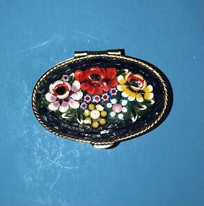 Vintage Antique Italian Micro Mosaic Pill Box