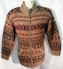 SKYR NORDIC WOOL BROWN CARDIGAN SWEATER WOMEN'S SIZE SMALL MINT COND.