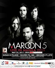 """Maroon 5 """"Live In Manila 2011"""" Philippines Concert Tour Poster - Pop/Funk Rock"""