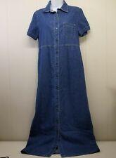 Bobbie Brooks SMALL Dress Jean Denim Blue Long Modest Snap Down