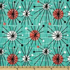 Michael Miller Mid-Century Modern Atomic Turquoise Fabric By The Yard- Cotton