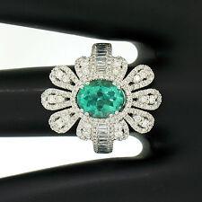 14k ORO BLANCO 3.05ctw COLOMBIA Emerald Redondo & Diamante Baguette