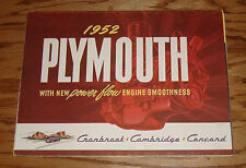 Original 1952 Plymouth Cranbrook Cambridge Concord Foldout Sales Brochure 52