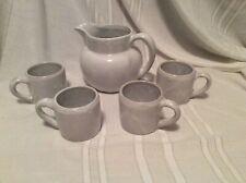 Kentucky Bybee BB Pottery White Pitcher & Mug Set