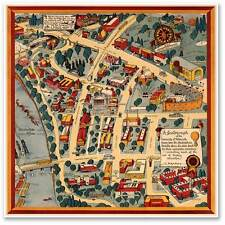 "University of Minnesota Campus Guide Map Golden Gophers circa 1940 - 24"" x 24"""