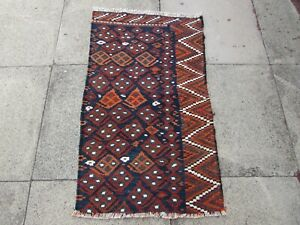 Fragment Vintage Traditional Hand Made Oriental Wool Brown Small Kilim 110x67cm