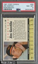 1961 Post Cereal #68 Perforated Jim Gentile Baltimore Orioles PSA 8 NM-MT