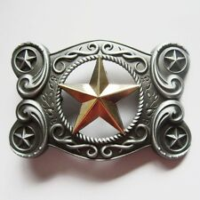 STAR TEXAS COWBOY WESTERN GOLD SILVER RODEO BELT BUCKLE