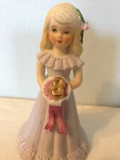 Birthday Girl Blonde Hair Age 8 Enesco Growing Up Cake Topper Porcelain Figure