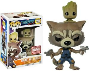 Funko Pop Rocket With Groot Marvel #211 MCC Guardians Of The Galaxy Vol.2 (Rare)