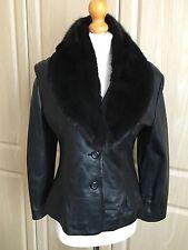 Blazer Jacket-Noir-Extra Fine-cuir amovible fourrure véritable col: taille 42